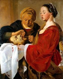 «Иродиада над отрубленной головой Иоанна Крестителя, поддерживаемой Саломеей» (история картины)