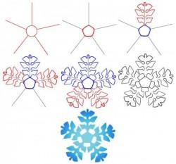 Как нарисовать снежинку на Новый год. Уроки рисования