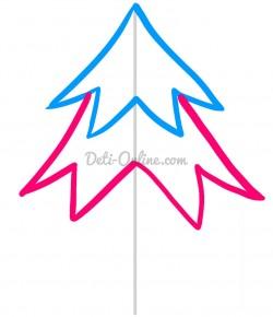 Как нарисовать новогоднюю ёлку карандашом поэтапно. Уроки рисования